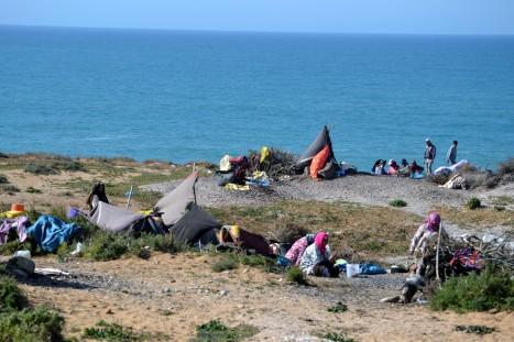 Tältläger på klipporna