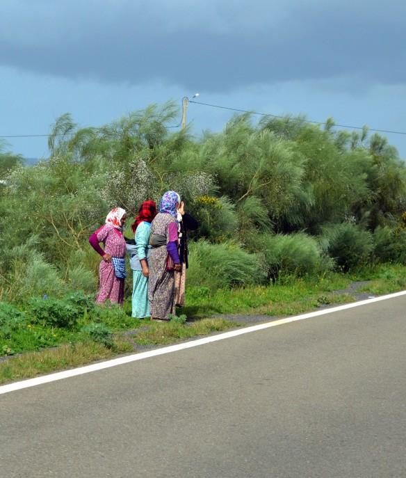 Kvinnor som väntar på att få gå över motorvägen